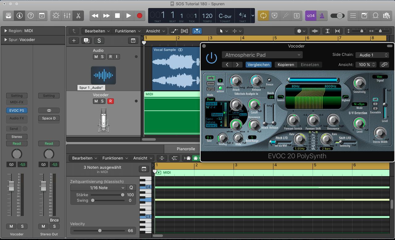 SOS Tutorial 180 Logic Pro X - Audio als Input für Vocoder